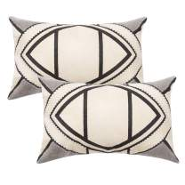 """blue page Set of 2 Lumbar Small Oblong Decorative Pillow Covers for Couch Bed Sofa Living Room with Hidden Zipper, Geometric Modern Pillow Cases, Embroidery Craft (Cream Grey, 12""""x 20"""")"""