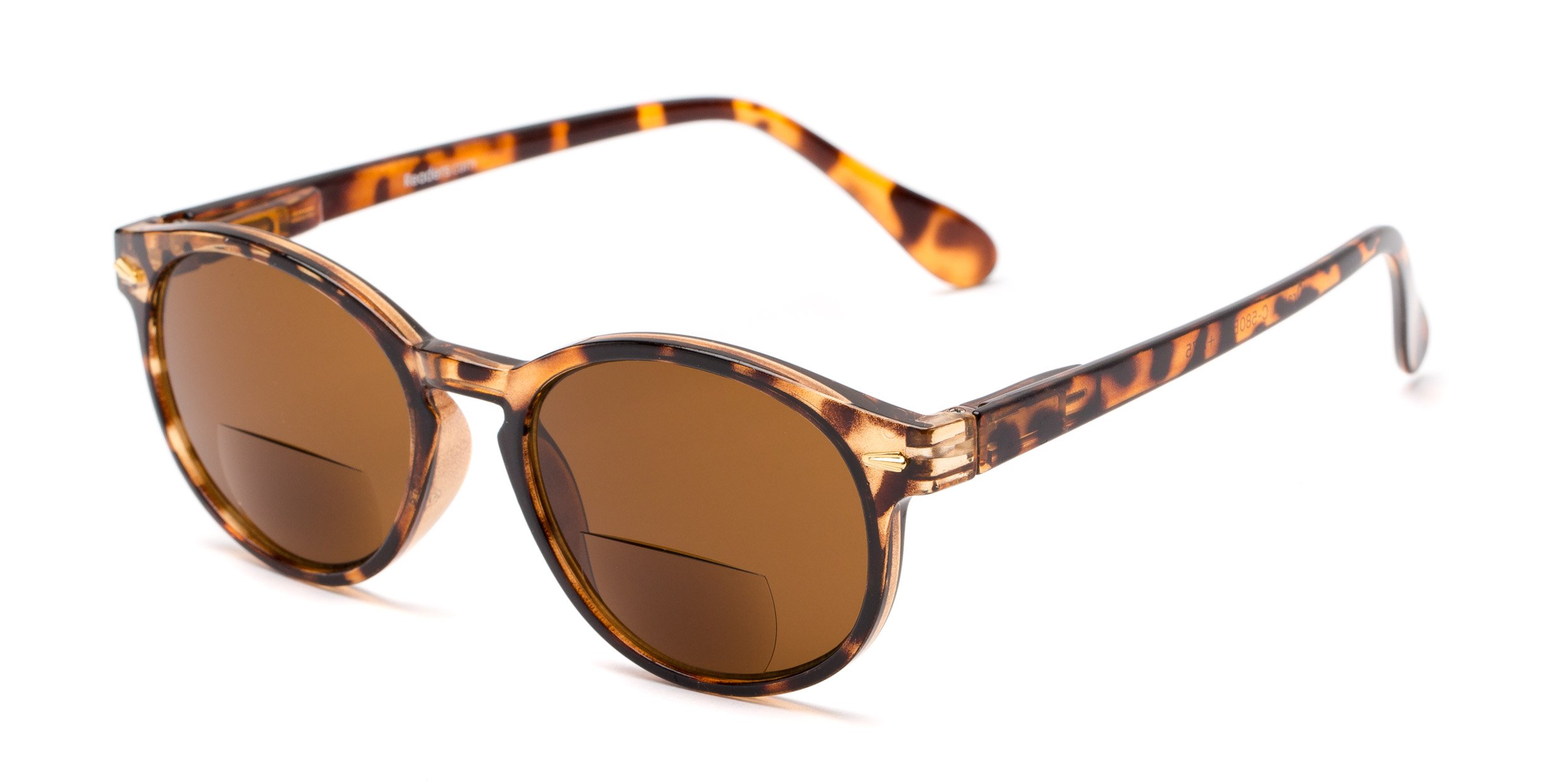 Readers.com Reading Sunglasses: The Drama Bifocal Reading Sunglasses Plastic Round Style for Men and Women - Dark Tortoise with Amber, 1.25