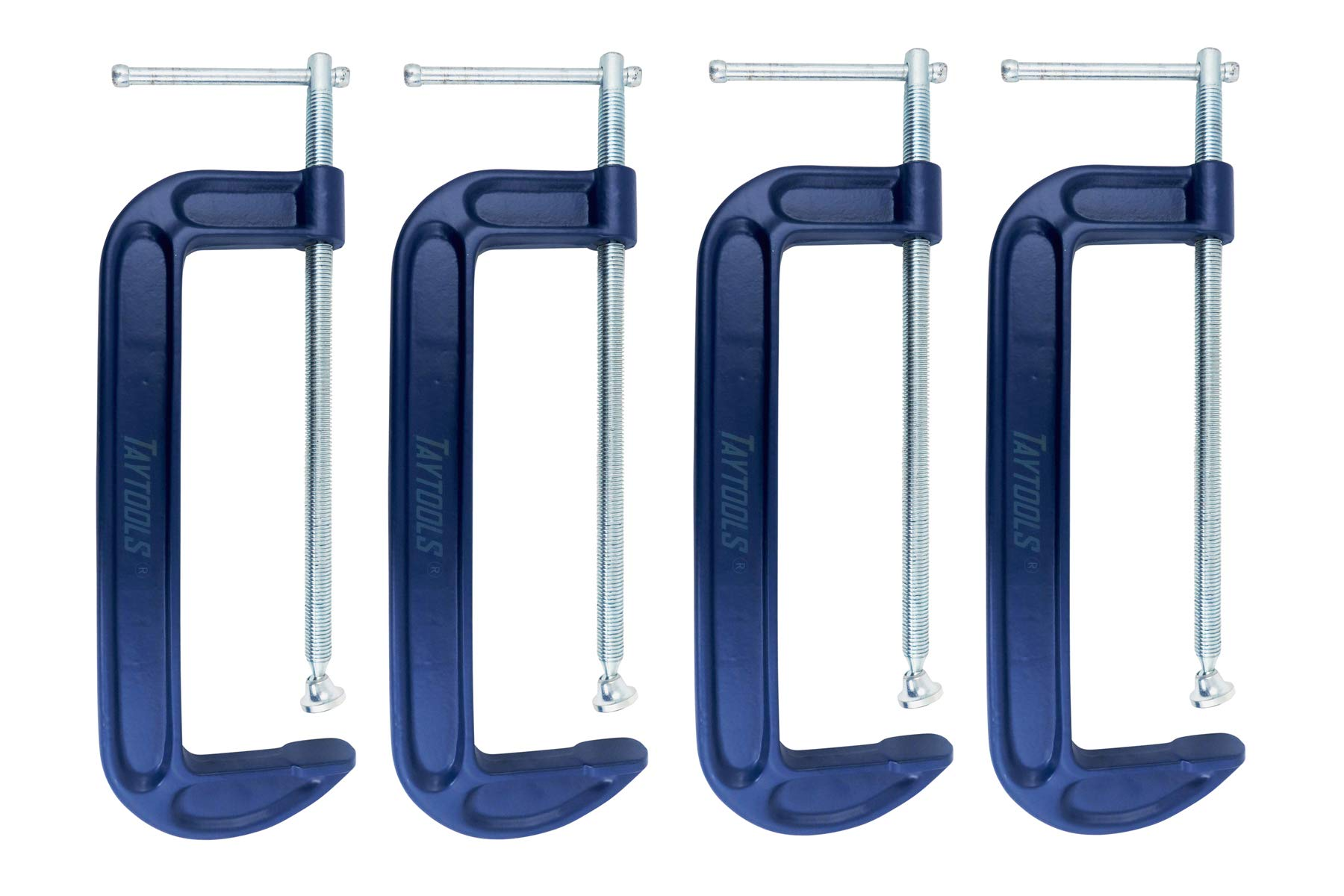 4 Pack Taytools 10 Inch C Clamps Malleable Steel Frame Power Coated Acme Threads Zinc Plated Carbon Steel Spindle and Sliding Bar (4, 10 inch)