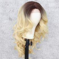 Sapphirewigs 14inch Black Roots Ombre Red Color Short Bob Straight T-part Lace Type Hand Tied Perruque Synthetic Lace Front Wig For Women Wedding Gift Party Cosplay (Ombre Gold)