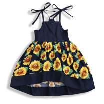 Toddler Baby Girl Halter Sunflower Printed Princess Dress Summer Outfits Kids Clothing …