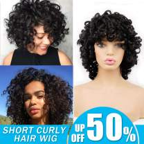 Short Afro Curly Synthetic Hair Wigs forBlack Women Andromeda Soft Fluffy Big Curls Hair Wig Natural Black Loose Curly AfricanAmerican Costume Cosplay Cheap Half Wigs + 1 Free Wig Cap