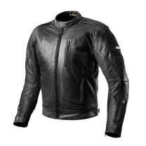 SHIMA Hunter Mens Vintage Leather Motorcycle Jacket With Armor - Black/Large