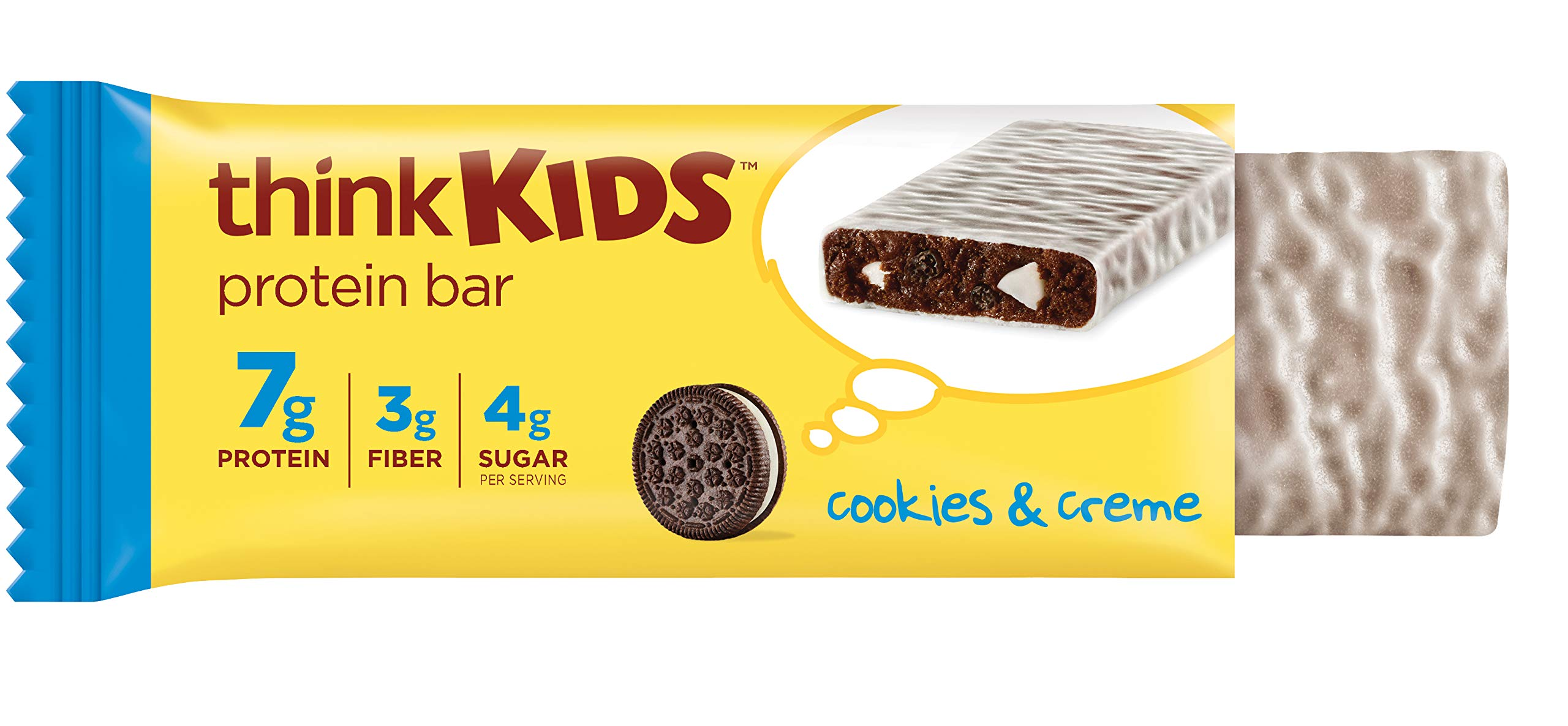 think! thinkKIDS Protein Bars - Cookies & Creme 7g Protein, 3g Fiber, 4g Sugar, No Artificial Flavors or Colors, Gluten Free, GMO Free*, 1 oz bar (5 Count)