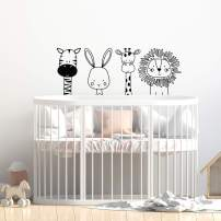 "Set of 4 Vinyl Wall Art Decal - Zebra Rabbit Giraffe Lion - 17"" x 44"" - Cute Modern Design for Animal Lovers Home Apartment Bedroom Window Playroom Classroom Nursery Indoor Decoration"