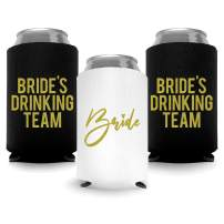 Coolies Can Coolers Insulated Collapsible Beer Soft Drinks Bottle Soda Can Sleeves (Bride & Bride Drinking Team) Durable Insulators Premium Quality for Bachelorette Party (Set of 12) White and Black