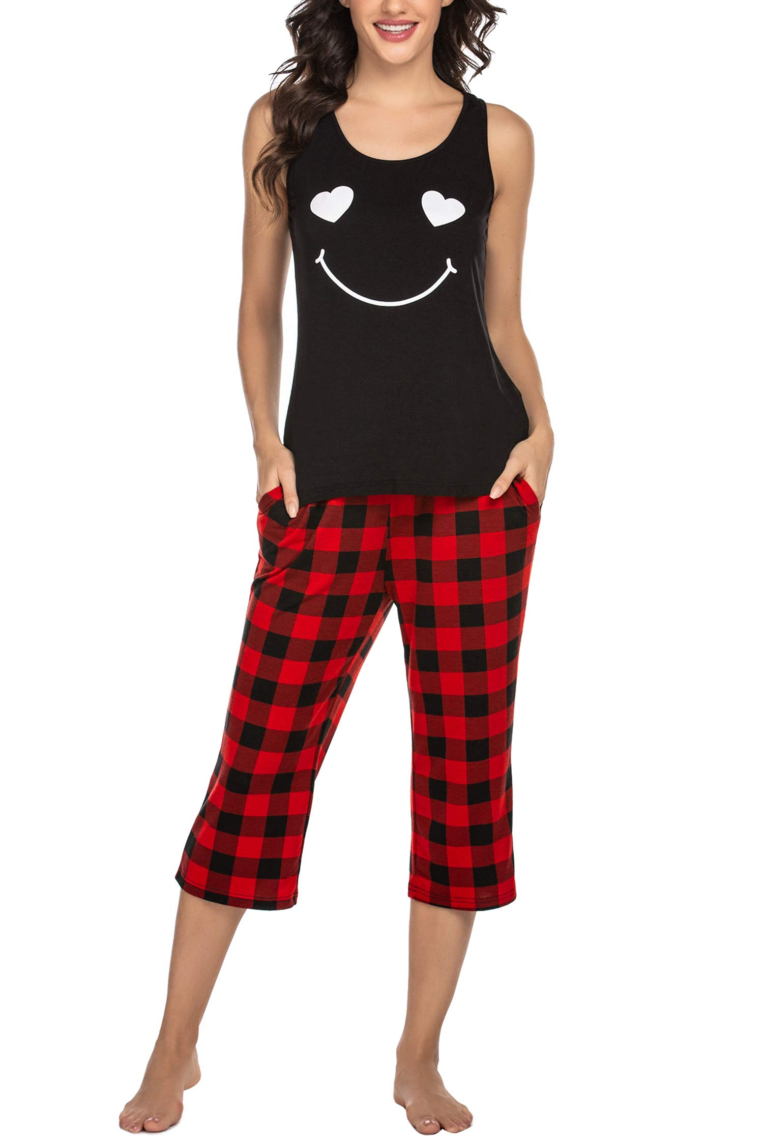Hotouch Women's Capri Pajama Set Cute Tank Tops Sleepwear with Pocket Pants Soft PJS S-XXL