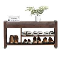 Shoes Bench Rack Nnewvante Bamboo Shoe Storage Organizer with Side Drawer&Metal Hooks Removable Padded Seat Cushion Entry Bench for Entryway Hallway Living Room Bedroom-37.4in