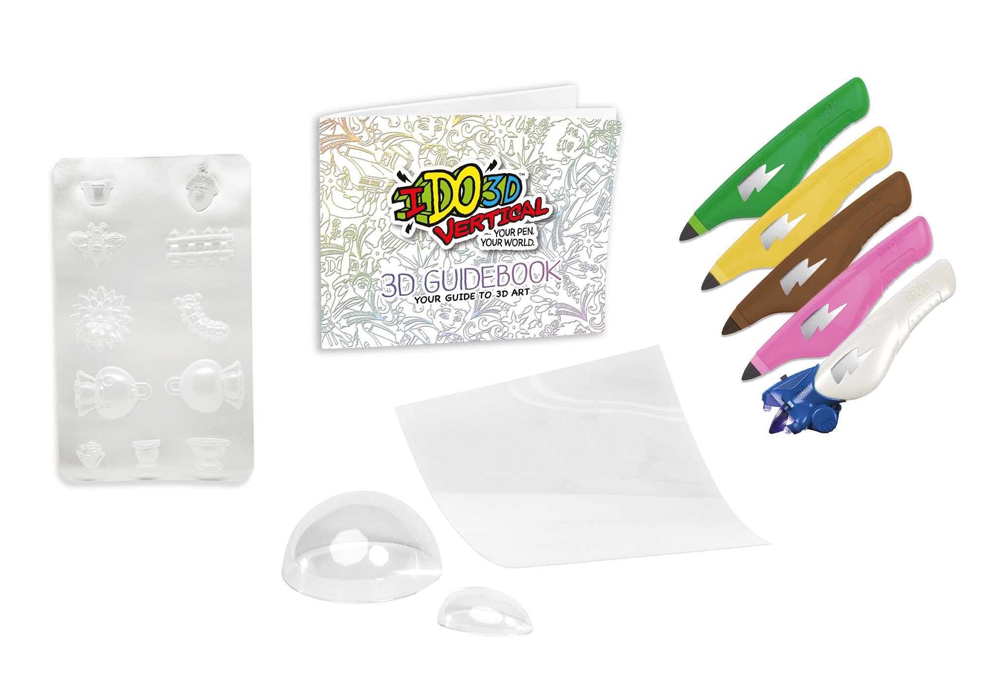 """IDO3D Vertical 3D 5 Pen Set Floral Frenzy 5, Pink / Yellow / Green / Brown / White Ink, One Size """"NEW Winter 2017"""""""
