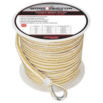 """Extreme Max 3006.2261 BoatTector Premium Double Braid Nylon Anchor Line with Thimble - 1/2"""" x 200', White & Gold"""
