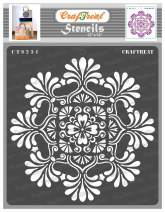 CrafTreat Mandala Wall Stencils for Painting Large Pattern - Mandala 2-12x12 Inches - Reusable DIY Art and Craft Stencils - Indian Mandala Stencil 12x12 - Mandala Wall Stencil Large