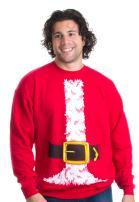 Santa Claus Costume | Novelty Christmas Sweater, Holiday Crewneck Sweatshirt