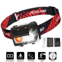LED Headlamp Flashlight, USB Charging Headlamp, waterproof Headlamp, With emergency AAA battery box, Camping and Outdoor Headlamps, Adjustable Strap, Kids and Adults, Perfect Headlamps (Red)