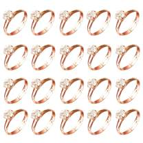 80pcs Diamond Ring Favors Rose Gold Adjustable Engagement Rings for Bachelorette Party Bridal Shower Game Favor Accent Wedding Baby Shower Party Table Confetti Decorations
