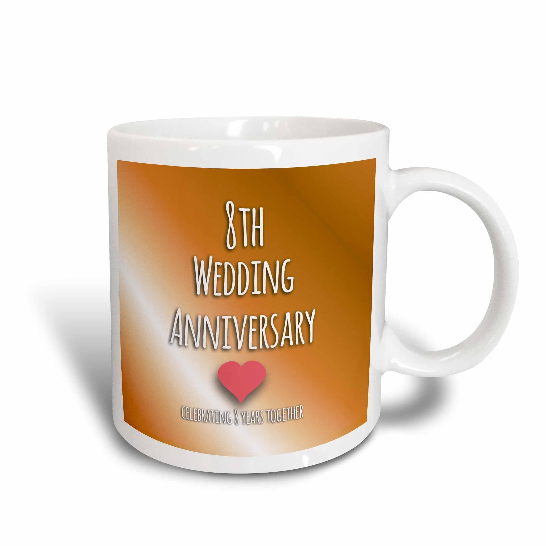 """3dRose 154439_6""""""""8Th Wedding Anniversary Gift"""" Mug, 11 oz, Blue"""