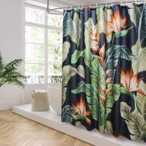 AooHome Rainforest Decor Shower Curtain, Fabric Banana Leaves Design Bathroom Curain with Hooks, Weighted Hem, Heavy Duty, Waterproof, 70Wx72L inch, Black