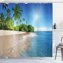 """Ambesonne Blue Shower Curtain, Ocean Tropical Palm Trees on Sunny Island Beach Scene Panoramic View Picture, Cloth Fabric Bathroom Decor Set with Hooks, 84"""" Long Extra, Blue Green White"""