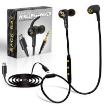 Back Bay 3-in-1 Wireless & Wired USB-C Headphones [Bluetooth, USB Type C, Aux 3.5mm Cables] Sweatproof Earbuds Bass Earphones. Pixel, Note, Galaxy