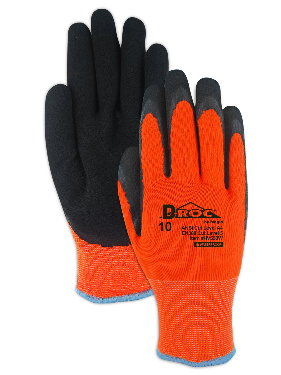 Magid Glove & Safety D-ROC HV550W Waterproof Thermal Coated Work Glove - Cut Level A4, Black