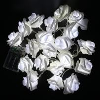 Fantasee LED Rose Flower String Lights Battery Operated for Wedding Home Party Birthday Festival Indoor Outdoor Decorations (6.6ft 20LED, White Rose Cool White Lights)