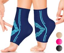 Ankle Compression Socks by SPARTHOS (Pair) – Plantar Fasciitis Sleeves with Arch Support – for Men and Women – Foot Ankle Brace – Injury Recovery - Pain Relief for Sprains, Strains, Arthritis (Blue-M)