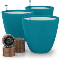 7'' Self Watering Planters for Indoor Plants - Flower Pot with Water Level Indicator for Plants, Grow Tracking Tool - Self Watering Planter Plant Pot - Coco Coir - Teal Round 3 Pack