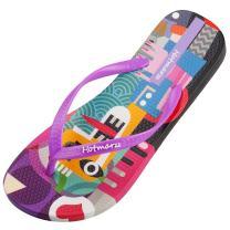 Hotmarzz Women's Colorful Printing Cartoon Graffiti Summer Beach Slippers Flip Flops Sandals