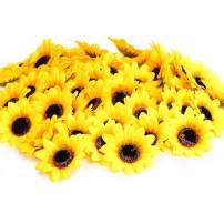 "KINWELL 50pcs Artificial Silk Yellow Sunflower Heads 2.8"" Fabric Floral for Home Decoration Wedding Decor, Bride Holding Flowers,Garden Craft Art Decor"
