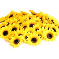 "KINWELL 100pcs Artificial Silk Yellow Sunflower Heads 2.8"" Fabric Floral for Home Decoration Wedding Decor, Bride Holding Flowers,Garden Craft Art Decor"