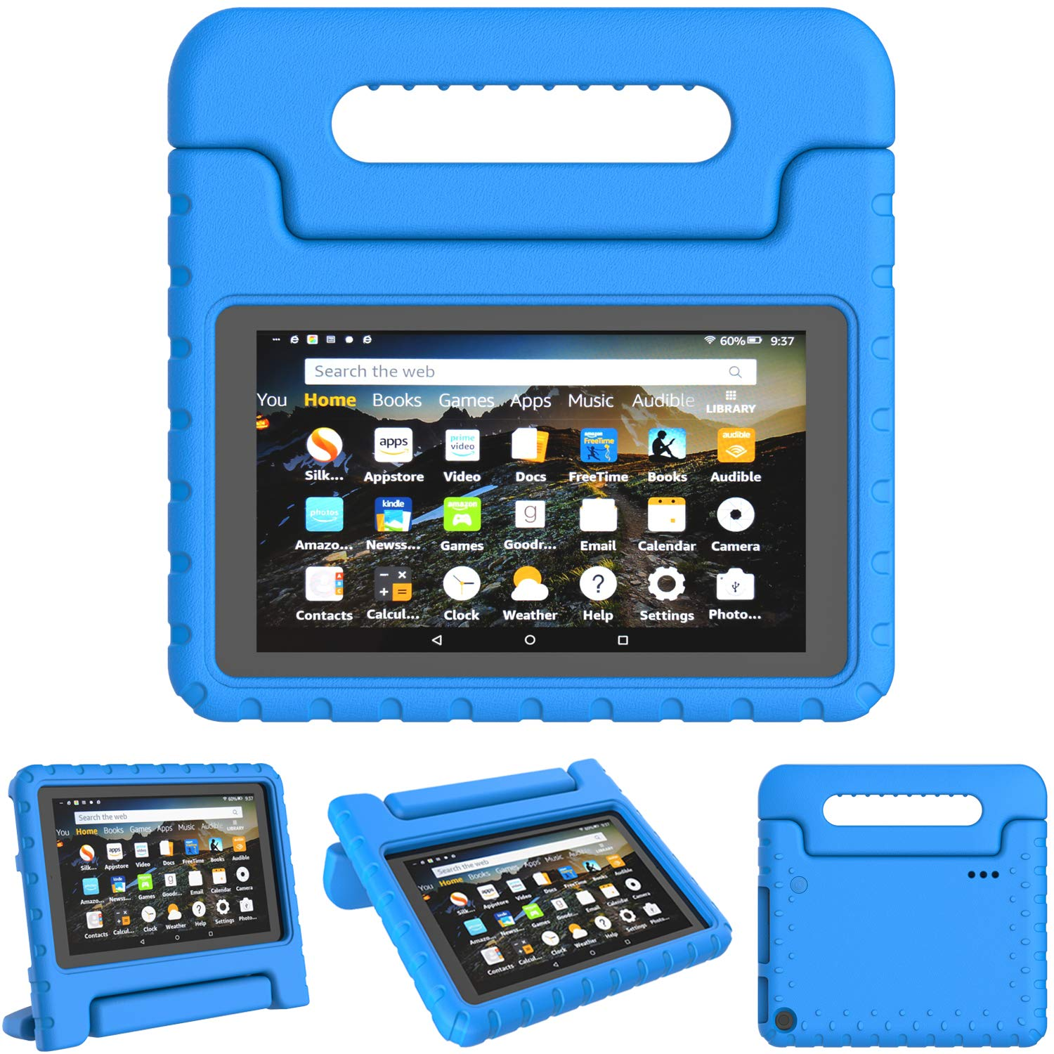 """TIRIN Kids Case for All-New Fire 7 2019 - Light Weight Shock Proof Convertible Handle Stand Protective Kid-Proof Case for All-New Amazon Fire 7 Tablet(9th Generation - 2019 Release)(7"""" Display), Blue"""