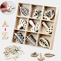 [ElekFX] Wood Embellishments 45pcs Wooden Scrapbooking Card Making Slices Ornament Mini Laser Cuts Wood Shapes Wooden Leaves Mushrooms Theme Ornaments for Kids Toys Crafts Christmas Gifts