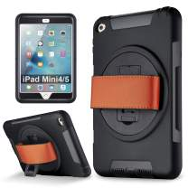 iPad Mini 5, iPad Mini 4 case, eSamcore Shockproof 360 Degree Rotating Leather Handle Grip and Kickstand Case with Built in HD Screen Protector for Apple iPad Mini 4 and iPad Mini 5 [Black]