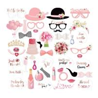 LUCKKYY 44-Pack Wedding Photo Booth Props Sign Kit- Funny Bridal Shower Girls Night Out Hen Party Wedding Decoration Supplies