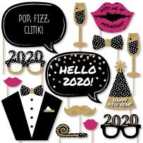 Big Dot of Happiness Pop, Fizz, Clink 2020 New Year's Party - Photo Booth Props Kit - 20 Count