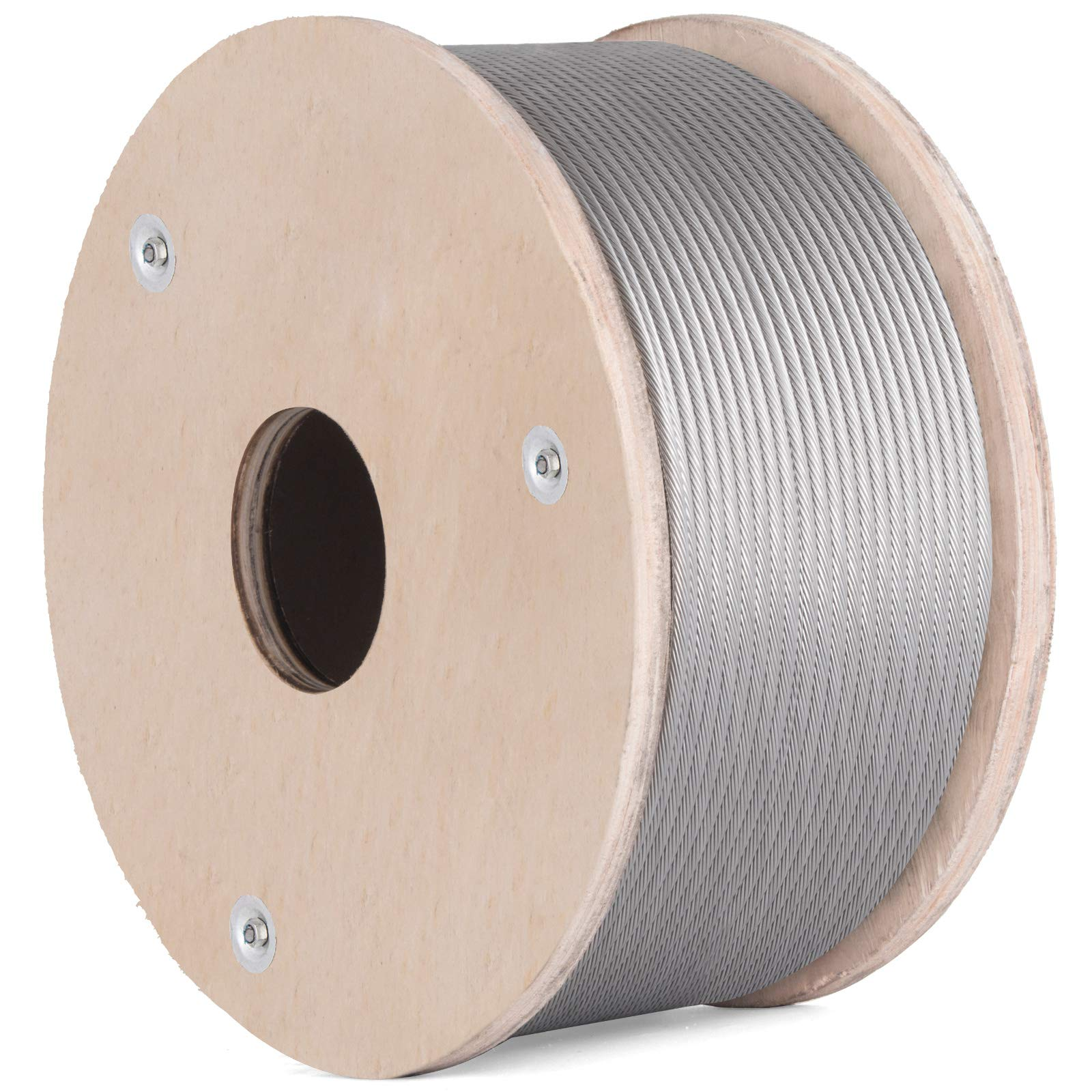 BestEquip T316 Stainless Steel Cable 200Feet Stainless Steel Wire Rope 3/16 Inch 1x19 Steel Cable for Railing Decking DIY Balustrade (3/16 Inch-200Feet)