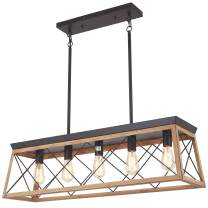 Merbotin Farmhouse Kitchen Island Light, 5-Light Distressed White Wood Finish Rustic Dining Table Chandelier Ceiling Light Hanging for Dining Room, Kitchen Island - Grain Brown Wood Finish…
