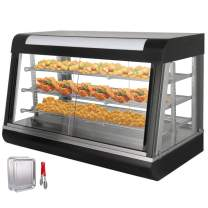 VEVOR 110V 36-Inch Commercial Food Warmer Display 3-Tier 1800W Electric Countertop Food Warmer Display 86-185℉ Pastry Display Case with 2 Trays & 1 Bread Tong for Buffet Restaurant Hamburger Pizza