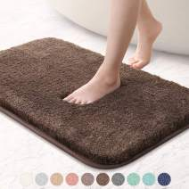 "VANZAVANZU Bathroom Rugs 16""x24"" Ultra Soft Absorbent Non Slip Fluffy Thick Microfiber Cozy Bath Mat for Tub Shower Bathroom Floors Accessories (Chocolate)"