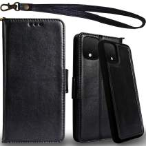 Mefon Genuine Leather Pixel 4 Case Wallet, Magnetic Detachable, Wireless Charging Compatible, with Tempered Glass and Wrist Strap, Luxury Genuine Leather Folio Flip Cases for Google Pixel 4 (Black)