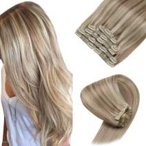 Sunny Blonde Clip in Hair Extensions 16 inch Human Hair Blonde Clip Extensions Blonde Highlights Clip on Hair Extensions #18/613 Remy Hair Clip in 120g 7pcs