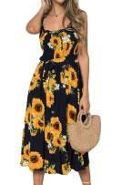 LOMON Sunflower Dress for Women Button Down Tie Waist Beach Party Casual Dress (Dark Blue Floral,XL)