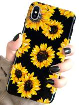iPhone Xs Max Case,J.west Cute Vintage Floral Sunflowers Black Soft TPU Silicone Cover for Girls Women Sturdy Slim Fit Pattern Design Shockproof Protective Phone Case for iPhone Xs Max Sunflowers