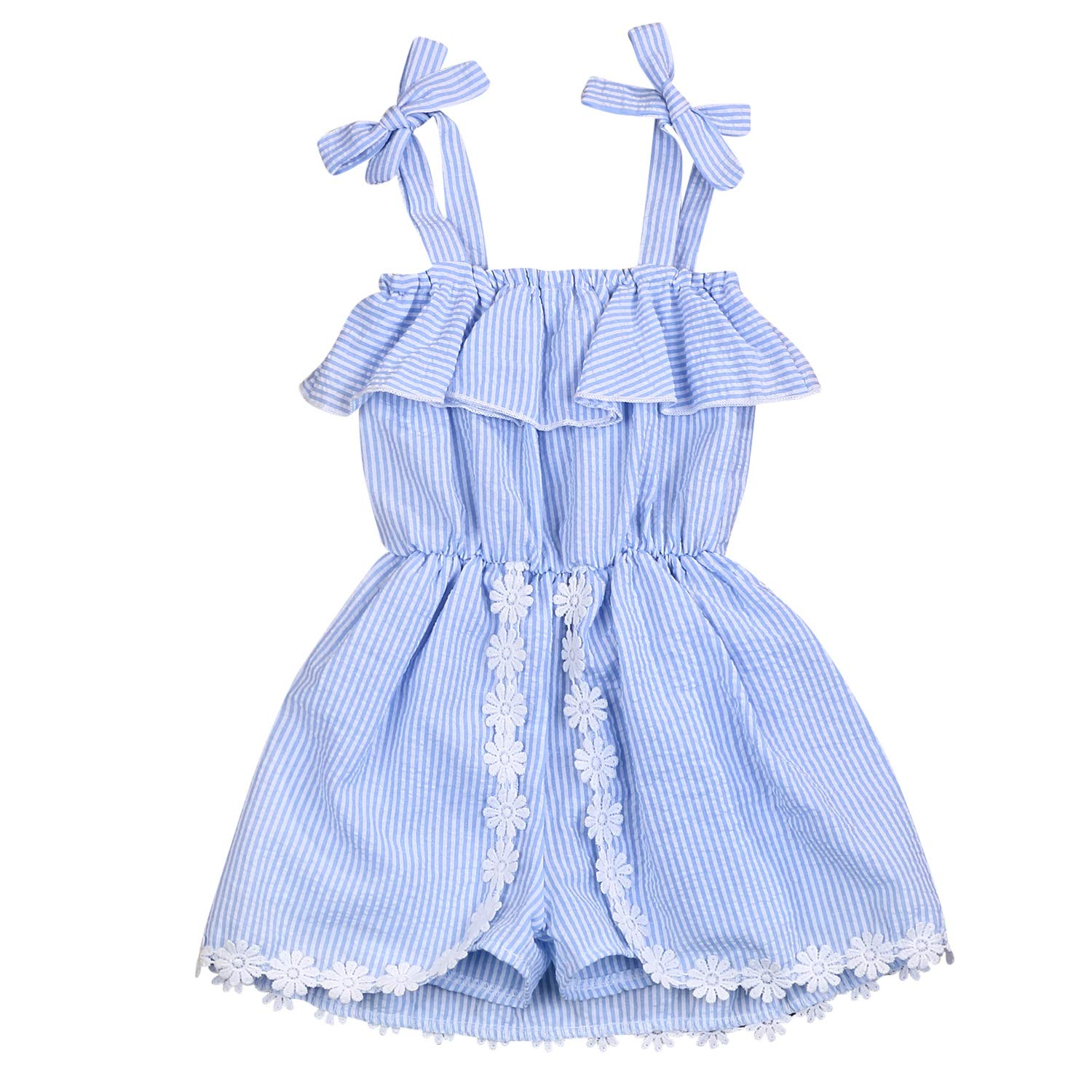 YOUNGER TREE Toddler Kids Baby Girl Stripe Shirt Dress Romper Floral Suspender Jumpsuit Short Playsuit Summer Outfits Clothes (Blue, 3/4 T)