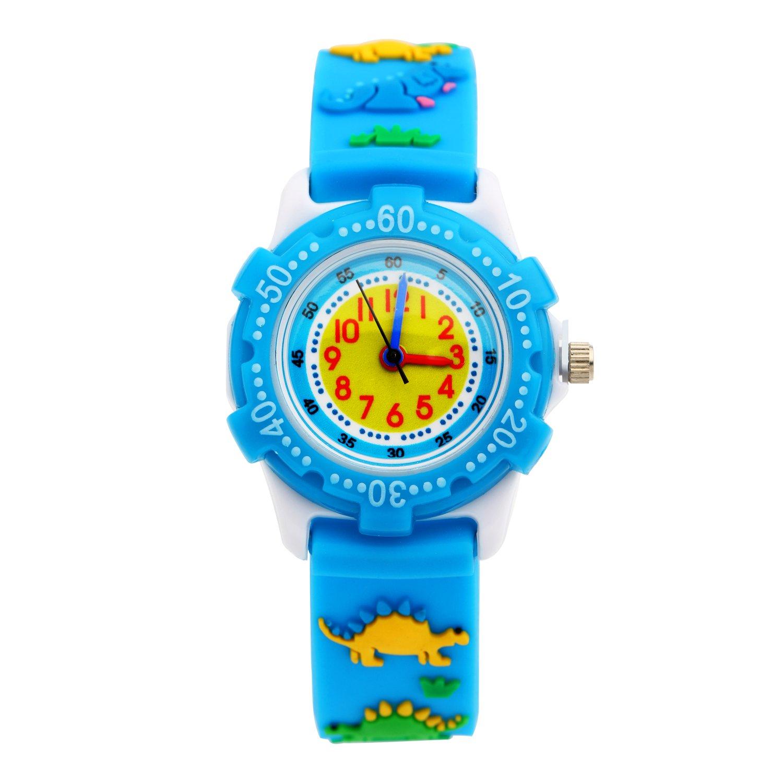 ELEOPTION Waterproof Kids Wristwatch Analog Quartz Watch for Boys Girls Child Gift with Soft 3D Cute Cartoon Resin Band for Children (Jurassic Park-Blue)