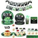 125PCS Video Game Party Supplies, Amycute Boys Video Game Themed Party Supplies Room Decor Set with Birthday Banner, Plates, Cups, Napkins, Tablecloth for Boys Kids Video Game Birthday - Serves 16