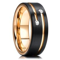 King Will GEM 8mm Mens Black Tungsten Carbide Wedding Ring Gold Plated Grooved Line Cubic Zircon Inlay