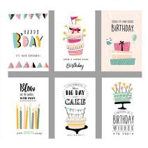 lureme 48 Pack Happy Birthday Cards Assortment with Envelopes and Stikers, 6 Colorful Designs with Birthday Cakes, Candles, Birthday Gifts, 4 x 6 inch Blank Inside with Adhesive (TC000004) (Birthday)