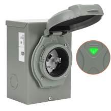 WELLUCK 50 Amp Generator Power Inlet Box, NEMA 3R Power Inlet Box, PB50, SS2-50P, CS6375 Generator Plug for Outdoor Receptacle, Weatherproof Generator Outlet, ETL Listed, 125/250 Volt 12500W