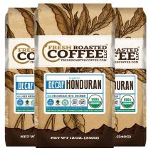 Fresh Roasted Coffee LLC, Organic Honduran Swiss Water Processed Decaf Coffee, Whole Bean, 12 Ounce Bags, 3 Pack