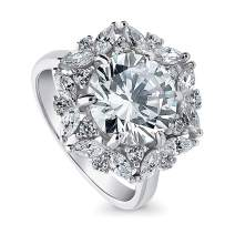 BERRICLE Rhodium Plated Sterling Silver Round Cubic Zirconia CZ Statement Halo Art Deco Flower Cocktail Fashion Right Hand Ring